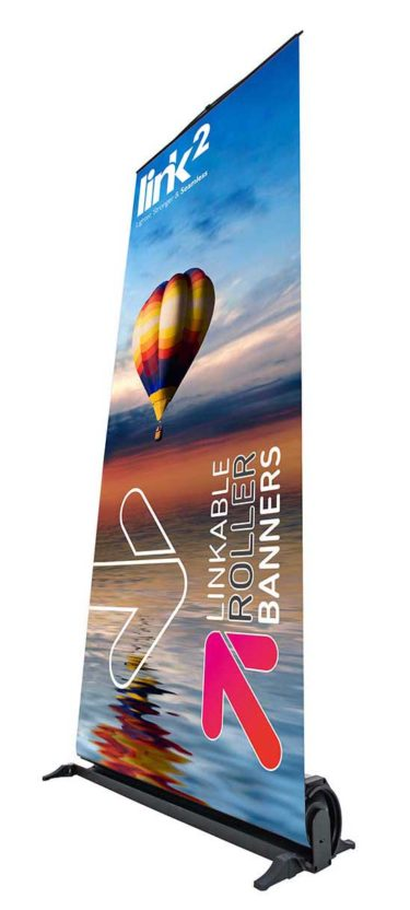 Single Link2 Low View 2 Trade 375x832 Link<sup>2</sup> Banners  magnetically linked banners linked roller banners linked pop up bannners linkable roller banners linkable banners link2 roller banners joined roller banners   Image of Single Link2 Low View 2 Trade 375x832