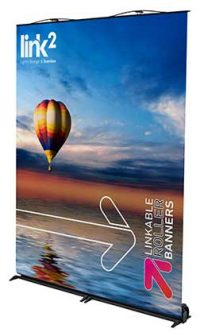 Double Link2 Quarter Trade 200x336 Link<sup>2</sup> Banners  magnetically linked banners linked roller banners linked pop up bannners linkable roller banners linkable banners link2 roller banners joined roller banners   Image of Double Link2 Quarter Trade 200x336