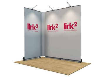 Open 2 375x265 Link<sup>2</sup> Banners  magnetically linked banners linked roller banners linked pop up bannners linkable roller banners linkable banners link2 roller banners joined roller banners   Image of Open 2 375x265