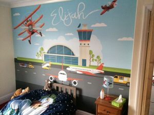 Elijahs wall 300x225 Childrens wall Airport scene    Image of Elijahs wall 300x225