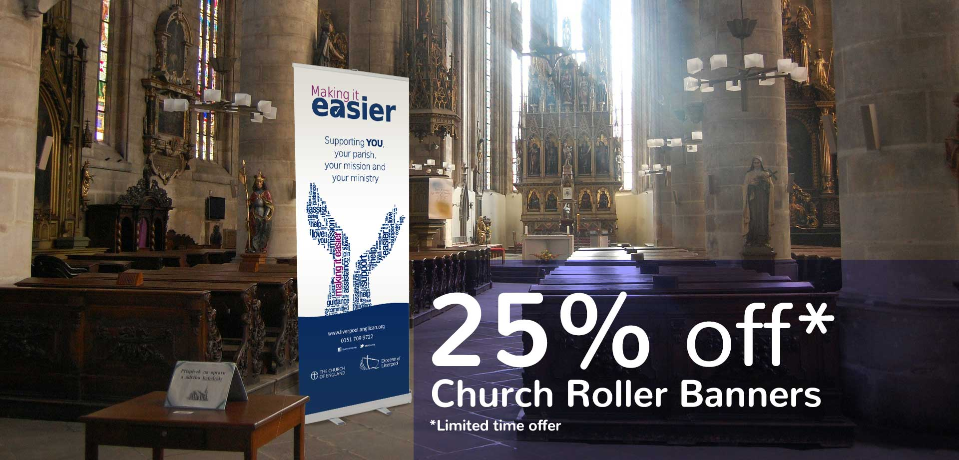 church banner 25off 1 church retractable banners roller banners    Image of church banner 25off 1
