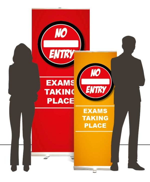 NoEntryExamsBannersOverallCat No Entry <span>exams taking place roller banner</span>    Image of NoEntryExamsBannersOverallCat