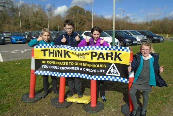 Mead school think before you park school parking banners