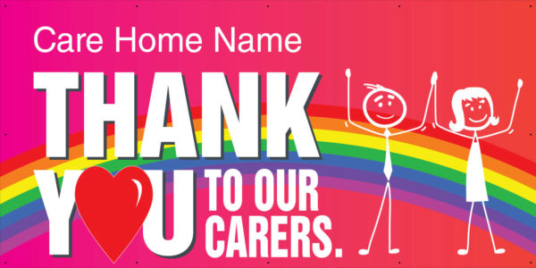 THANKYOU Carerers 8x4 good Thank you to our carers <span>vinyl banner</span>    Image of THANKYOU Carerers 8x4 good
