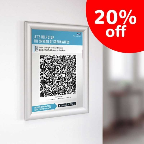 Covid ClipFrame Image 02 Test and Trace QR code poster <br><span>clip / snap frame or display board</span>    Image of Covid ClipFrame Image 02